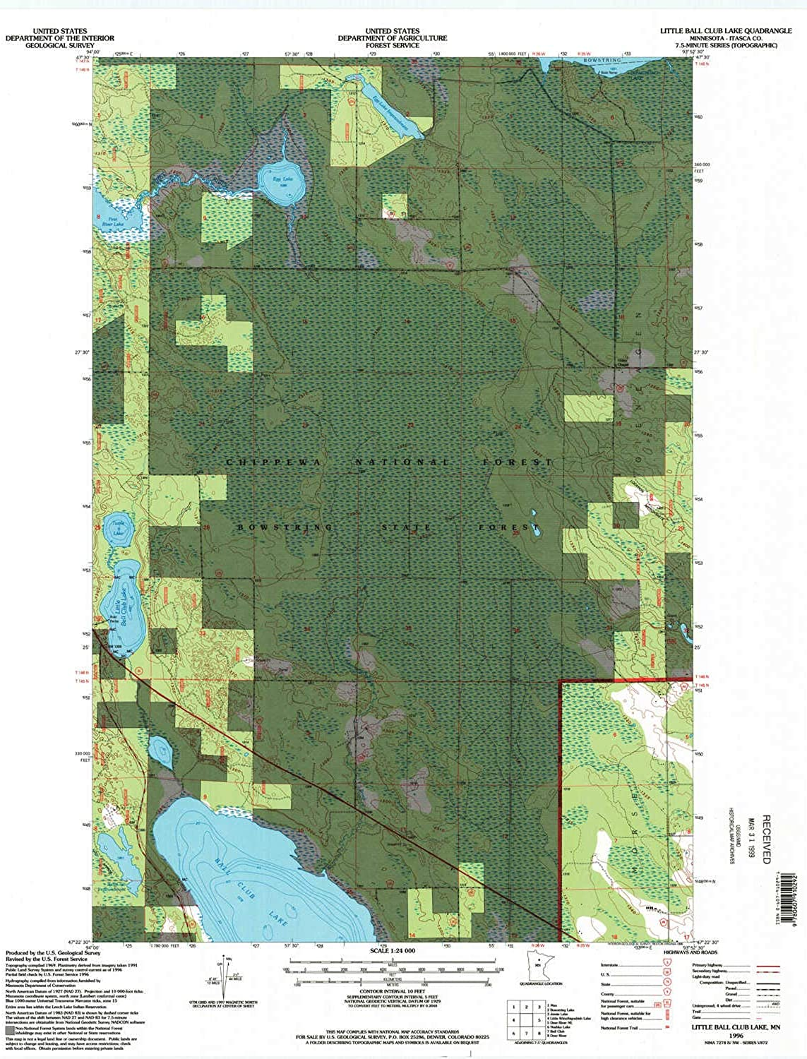 Little Ball Club Lake MN topo map, 1 24000 Scale, 7.5 X 7.5 Minute, Historical, 1996, Updated 1998, 27.23 x 21.53 in