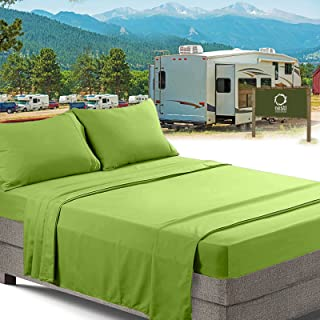RV/Short Queen Bed Sheets Set Bedding Sheets Set for Campers, 4-Piece Bed Set, Deep Pockets Fitted Sheet, 100% Luxury Soft Microfiber, Hypoallergenic, Cool & Breathable, Garden Green