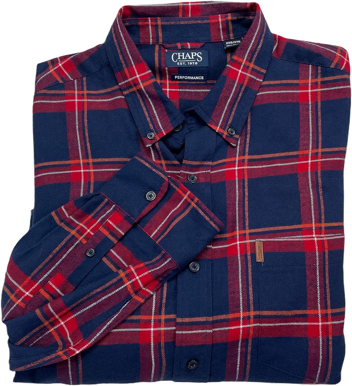 Chaps Men's Long Sleeve Performance Flannel Big Tall Button Down Shirt