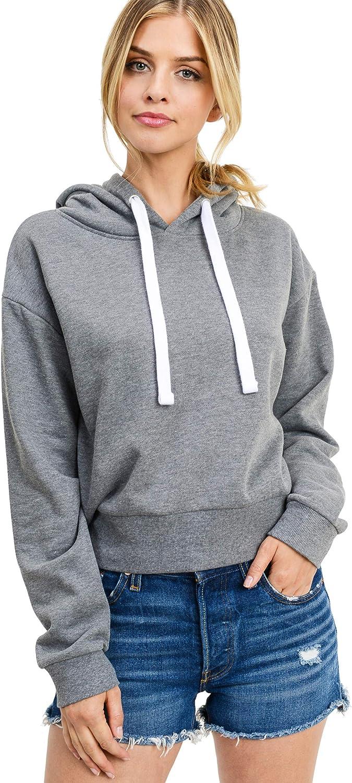 "esstive Women's Ultra Soft Fleece Lightweight Active Workout Solid Basic Casual 21"" Length Short Pullover Hoodie Sweatshirt"