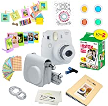 Fujifilm Instax Mini 9 Instant Camera SMOKEY WHITE w/ Film and Accessories – Polaroid Camera Kit