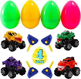 FiGoal 4 Pack 4.75-inch Jumbo Easter Egg with 4 Monster Eject Cars Collectible Party Favors Decoration Classroom Games Prizes Carnivals School Supplies Gifts Egg Hunting Theme Basket Stuffers