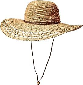 ff3113480bcf2 Hand Crocheted Raffia Round Crown Hat