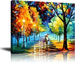 Wall decor Unframed Art, Contemporary Abstract Oil Paintings, Romantic Lovers Stroll in Rain Paintings, for Living Room Bedroom Office Home Decorations, Ready to Hang,16x20 Inch
