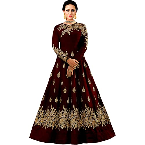 71e9cb3f2b Shree impex Women's Embroidered Taffeta Silk Anarkali Gown (Freesize)