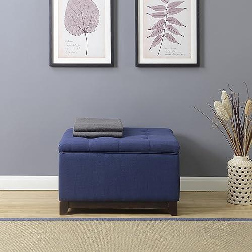 popular BELLEZE outlet sale Linen Ottoman Storage Bench Stool Large Living Room discount Footrest Seat Tufted Foot Stool, Navy Blue outlet sale