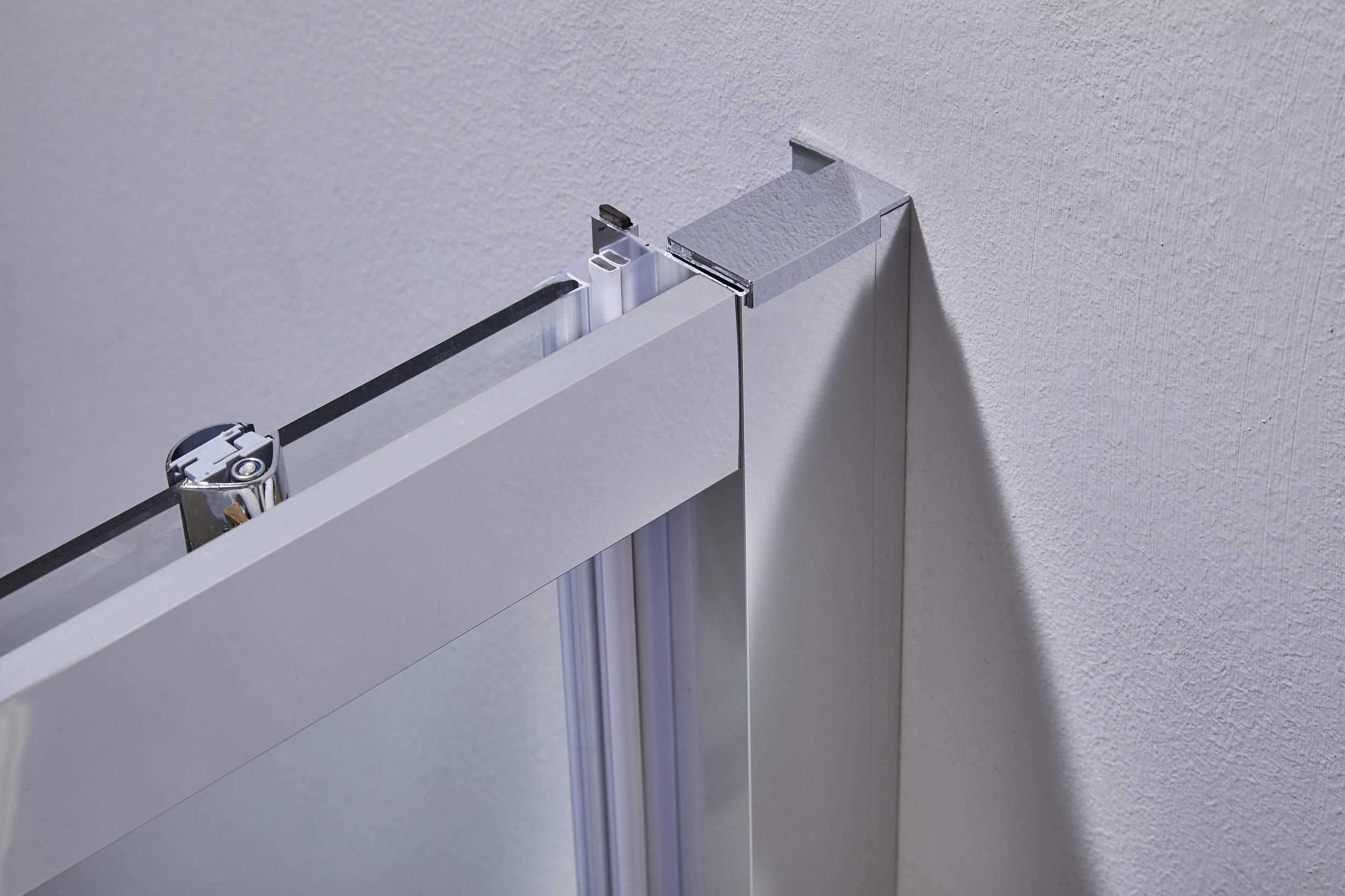 Puerta ducha deslizante Perfil de Aluminio Cromado Cristal Templado de 6 mm h.195: Amazon.es: Bricolaje y herramientas