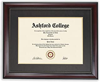 Diploma Frame - Mahogany Wooden Look Gold Trim - Double Matted - Luxurious - Holds 8.5x11 Picture with Mat 11x14 without - Certificates/Diploma/Degree - No Glass - Strong Shatterproof Polymer - Plaque