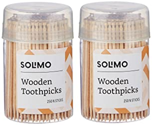 Amazon Brand - Solimo Wooden Toothpicks - 250 Sticks (Pack of 2)