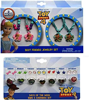 H.E.R Accessories Toy Story 4 Best Friends Jewelry Set - 2 Necklaces, 2 Bracelets Plus Toy Story 4 Days of The Week Ring & Earring Set