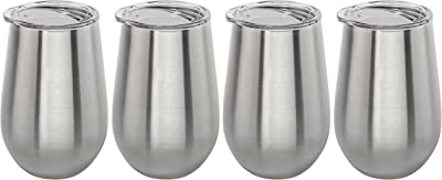 Stainless Vacuum Insulated Wine Tumbler with Lid - 12oz Wine Glass by Lancaster Steel (4)