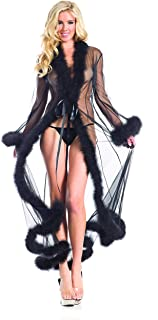 Marabou Feather Robe Adult Costume Accessory Black - One Size