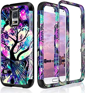Lamcase for Galaxy S5 Case Shockproof Dual Layer Hard PC & Flexible Silicone High Impact Durable Bumper Armor Protective Case Cover for Samsung Galaxy S5 i9600, Life Tree