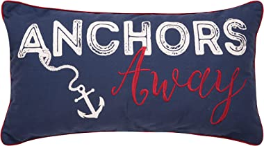 C&F Home Anchors Away Navy Blue Nautical Embroidered Decor Decoration Accent Throw Pillow for Sailing Sail Boat Sailboat