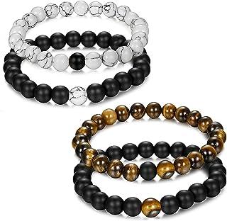 Adramata 4 Pcs 8mm Distance Couple Perles Bracelet Homme Femmes Unisexe Naturel Howlite..