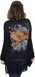 Womens Vintage Tribal Fringe Bottom Black Long Sleeve Cardigan by MJCK