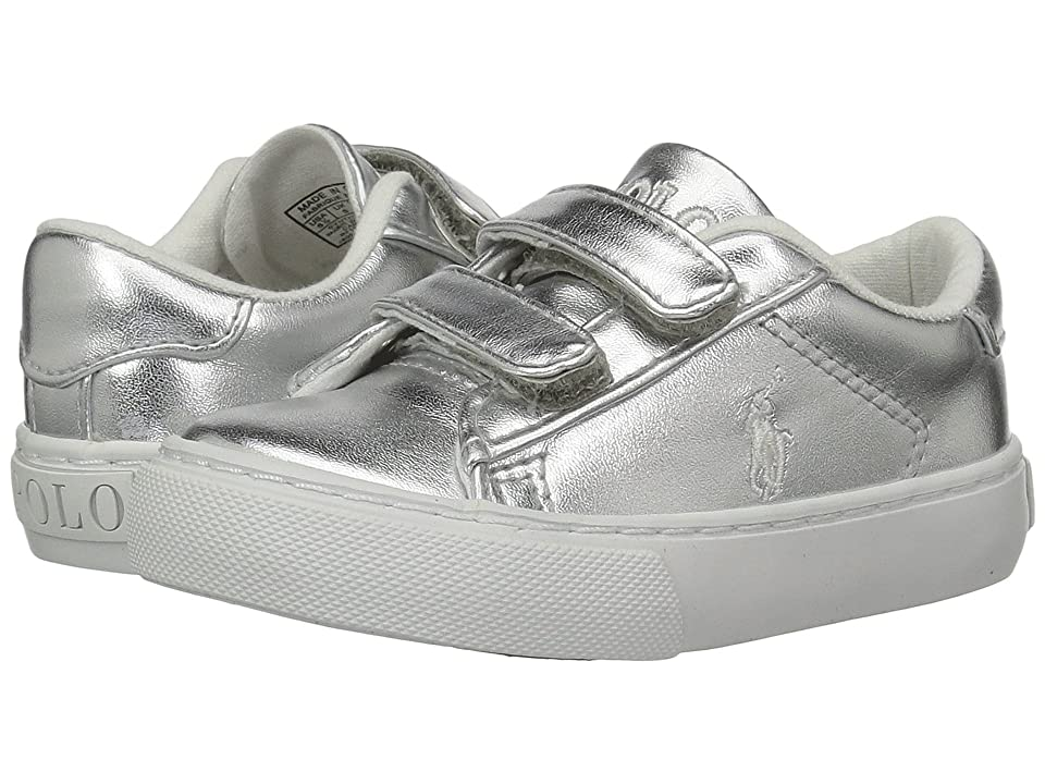 Polo Ralph Lauren Kids Easten EZ (Toddler) (Silver Metallic/White Pony Player) Kid