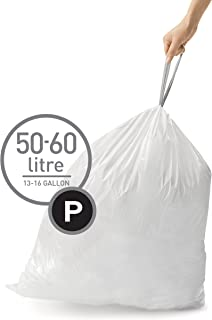 simplehuman Code P Custom Fit Drawstring Trash Bags,50-60L / 13-16 Galllon (200 Count)