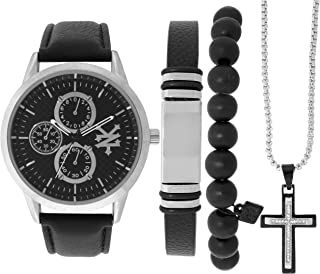 Men's Watch Gift Pack- Matching Leather and Bead Bracelets - Silver Cross Necklace