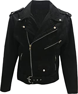 Men's Classic Motorcycle Biker Jacket Black Denim Jean Jacket
