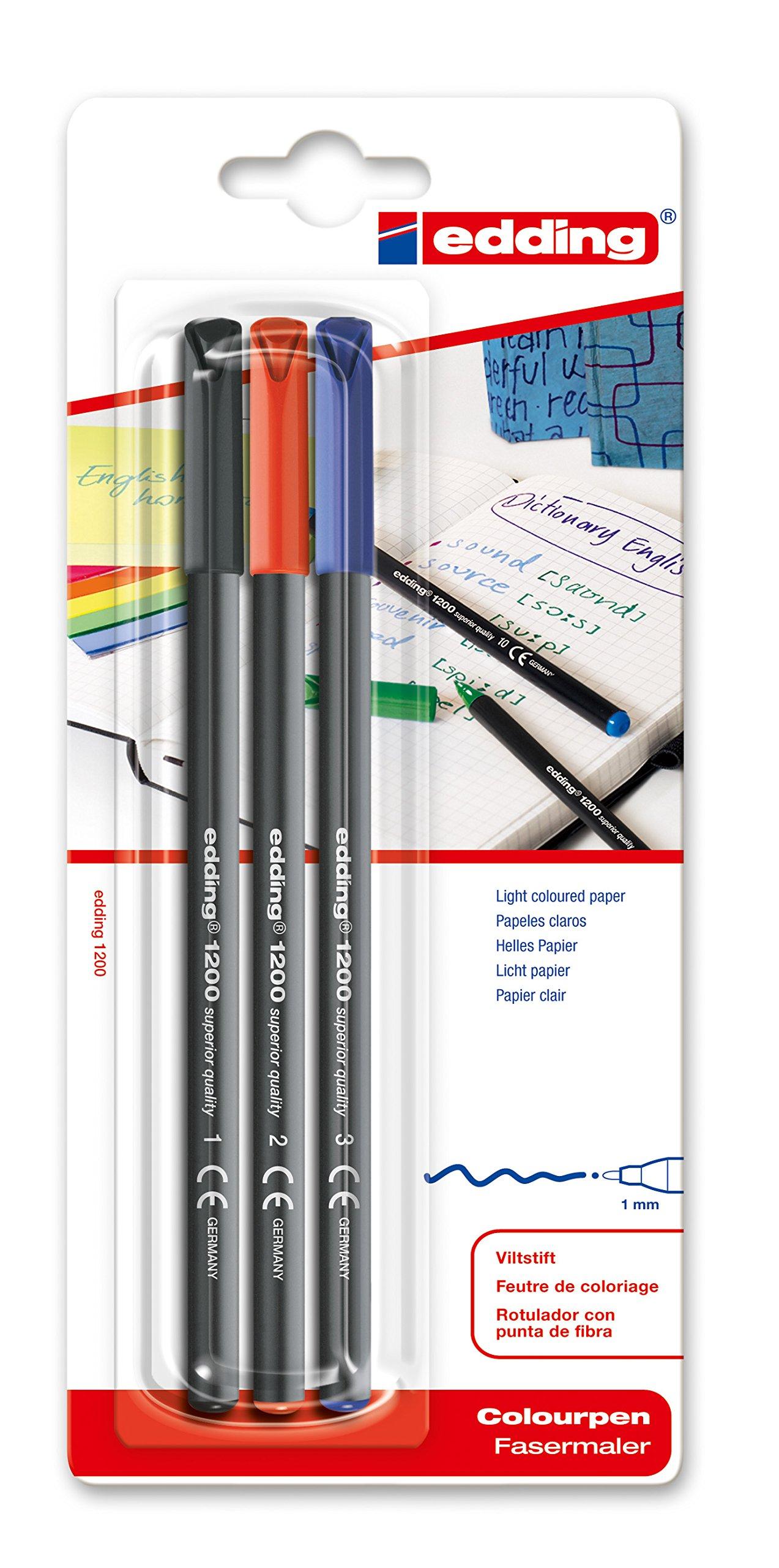 edding 1200/3-S - Blíster con 3 rotuladores, color negro, rojo y azul: Amazon.es: Oficina y papelería