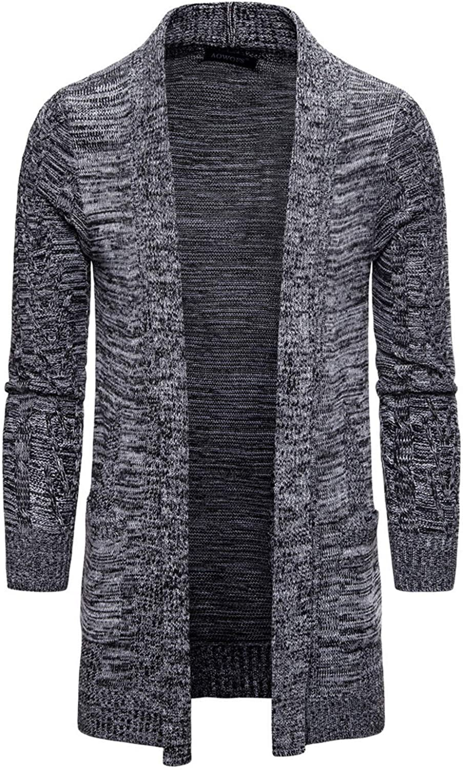 Soluo Mens Cardigan Sweater Long Sleeve Open Front Shawl Collar Fall Winter Chunky Knit Cardigans Overcoat (Gray,Small)