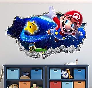 "Mario Bros Wall Decal Art Decor Magic World 3D Smashed Sticker Mural Kids Gift Large HA17 (42"" W x 24"" H)"