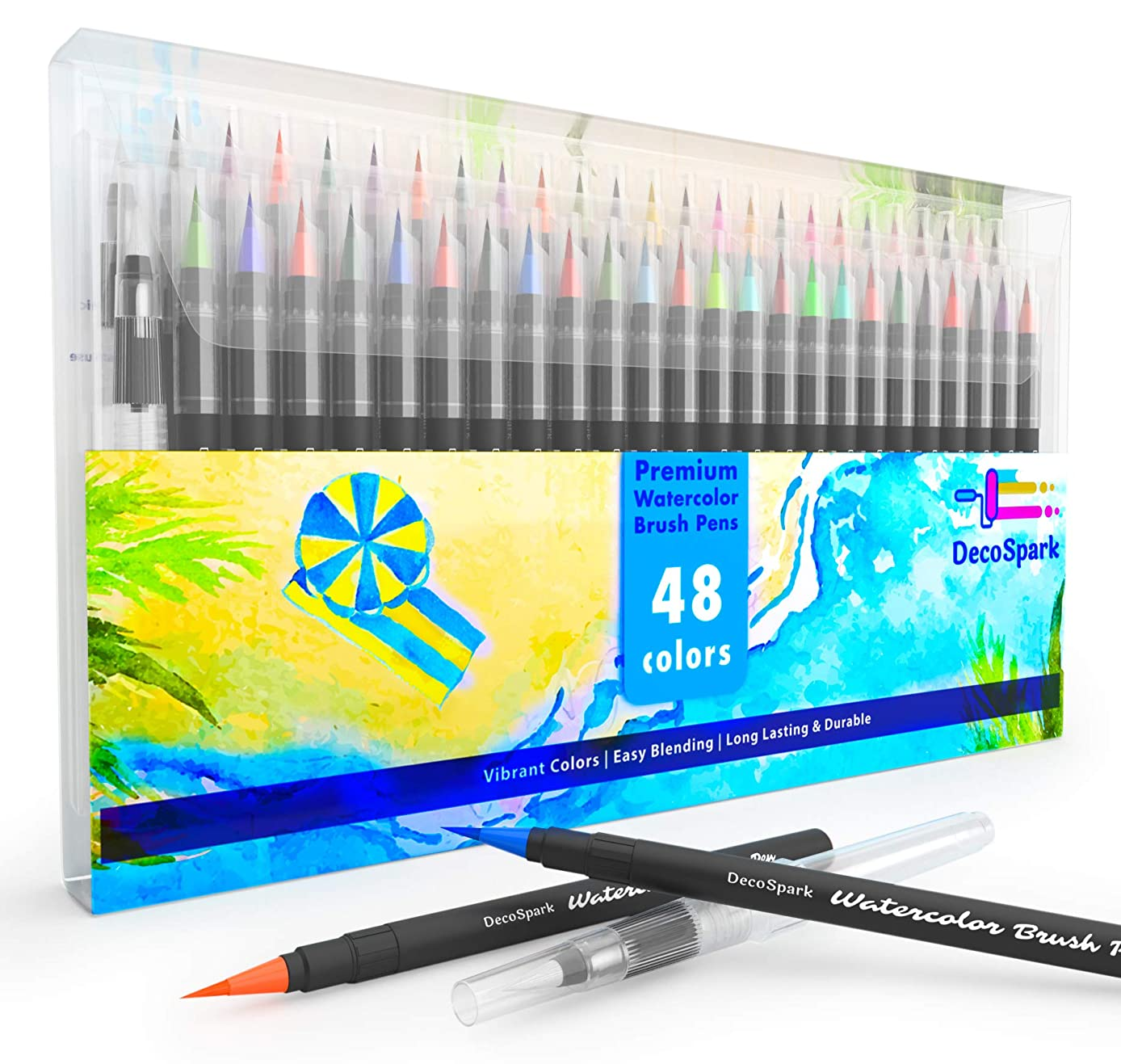 Watercolor Brush Pens Set | 48 Colors | Best Real Soft Brush Markers for Adult and Kids Coloring Books, Drawing, Calligraphy, Writing and More | Ultra Bright Pigment, Non-Toxic, Acid-Free | DecoSpark