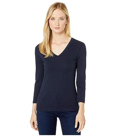 XCVI Essentials Ioda Long Sleeve V-Neck 1x1 Rib Tee (Aweigh Blue) Women