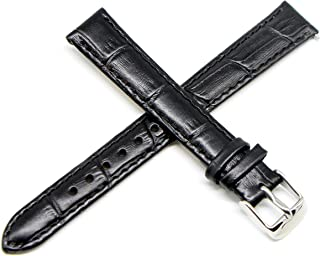 Lucien Piccard 14MM Black Alligator Grain Genuine Leather Watch Strap Band 7.5 Inches Silver LP Initial Buckle