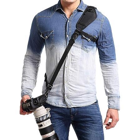 Adjustable Camera Sling Strap for Nikon Canon Sony Fuji Panasonic Olympus Pentax Any DSLR Camera Rapid Slide Camera Neck Shoulder Strap with Quick Release Black
