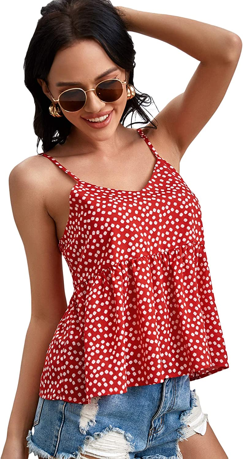 SweatyRocks Women's Sexy V Neck Backless Camisole Knot Front Peplum Crop Cami Top