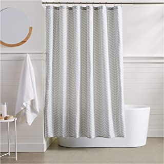 AmazonBasics Grey Herringbone Shower Curtain - 72 Inch