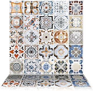 Tic Tac Tiles 6-Sheet Peel and Stick Self Adhesive Removable Stick On Kitchen Backsplash Bathroom 3D Wall Sticker Wallpaper Tiles in Moroccan Caro