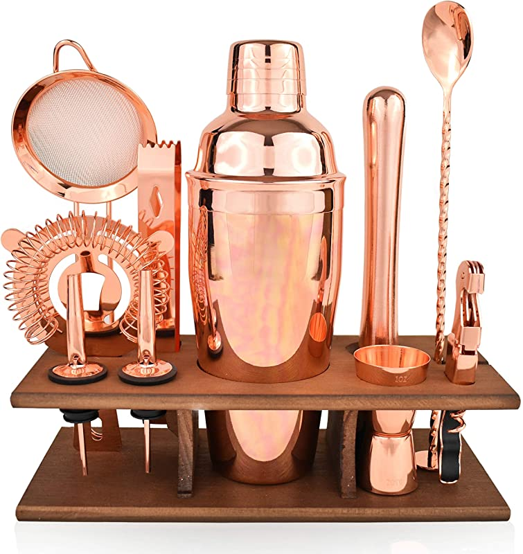 Bartender Kit Copper 11 Piece Copper Parisian Cocktail Mixology Set Rose Gold Shaker With Muddler Pourers Strainer Twisted Bar Spoon
