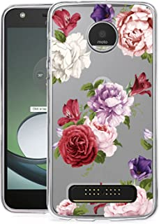 BAISRKE Moto Z2 Play Case, Moto Z2 Force Case with Flowers Slim Shockproof Clear Floral Pattern Soft Flexible TPU Back Cove for Moto Z2 Play / Z2 Force [Lavender]