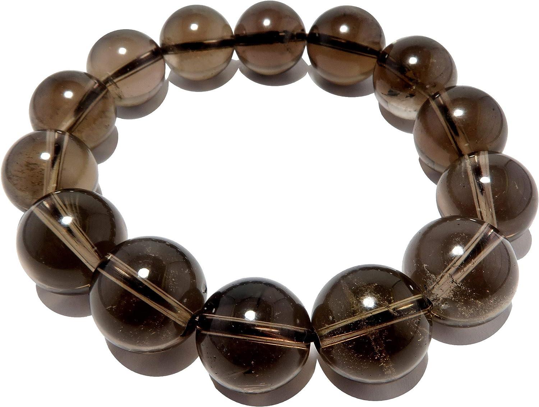 SatinCrystals Smoky Quartz Bracelet 13mm Dark Brown Round Stone