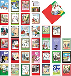 36 Pack of Favorite Holiday Toons - Boxed Assortment of Funny Christmas and New Year's Greeting Cards - Hilarious Set of Cartoon Notecards - Xmas Stationery with 5x7 Envelopes AC6736XXG-B1x36