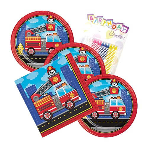 Flaming Fire Truck Theme Plates And Napkins Serves 16 With Birthday Candles