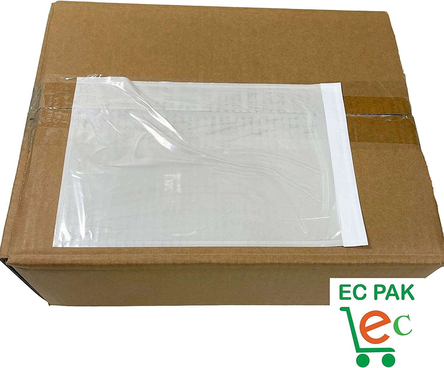 EC PAK Clear Shipping Label Envelopes Packing List Slip Pouches 6 X 9  Plain Face SIDE Loading and Self Adhesive Plastic Sleeve Mailing Bags 200 PACK