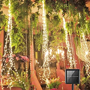 200 LED Solar Firefly Bunch Lights, 8 Flashing Modes , Fairy Copper Wire Waterproof String Lights, Decorative Vine Solar Watering Can Lights, Outdoor Garden Christmas Decor Lights (Warm White)
