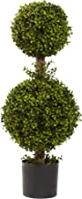 """Nearly Natural 5920 Double Boxwood Topiary, 35-Inch, Green,12"""" x 12"""" x 35"""""""