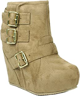 JJF Shoes Women Dual Gold Buckle Ankle Strap Decor Zipper Wedge Booties
