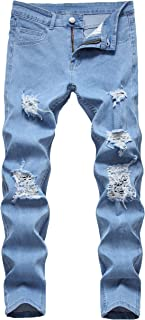 Men's Stylish Outfit Distressed Ripped Regular Slim Fit Stretchy Active Jeans Pa