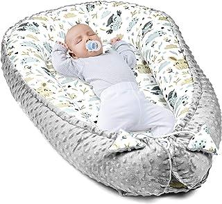 Amazinggirl Reductor de Cuna - nidos para Bebes colecho Bebe Cuna algodón y Material Minky cálido (Gray Minky with Gray-White Cotton, 90 x 50 cm)