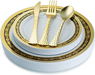 100 Piece Royal Black and Gold Disposable Plastic Plates & Silverware Set Heavyweight Place Setting | Service For 20 Guests Includes 20 Dinner Plates 20 Dessert Plates 20 Forks 20 Spoons 20 Knives