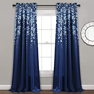 "Lush Decor Weeping Flowers Room Darkening Window Panel Curtain Set (Pair), 84"" x 52"", Navy, 84"