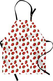 Lunarable Spring Apron, Cartoon Style Strawberries on White Background Fresh Fruit Pattern Image, Unisex Kitchen Bib with Adjustable Neck for Cooking Gardening, Adult Size, White Red