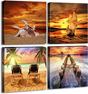 Sunset Seaview Wall Art Home Decor Modern Seascape Canvas Prints Artwork for Bathroom Contemporary Landscape Sea Beach Pictures Photo Paintings for Home Office Decorations 16