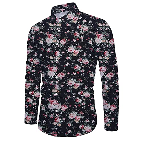 4f035978 Uideazone Men's Slim Fit Long Sleeve Floral Shirt Casual Button Down Dress  Shirts